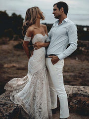 Sweetheart Neck Lace Beach Ivory Rustic Boho Wedding Dresses,MW267 - onlybridals
