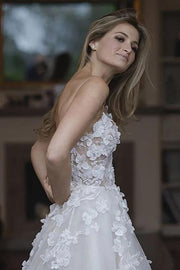 Sweetheart Neck Tulle A-line Wedding Dresses Appliqued Wedding Gowns,MW322 - onlybridals