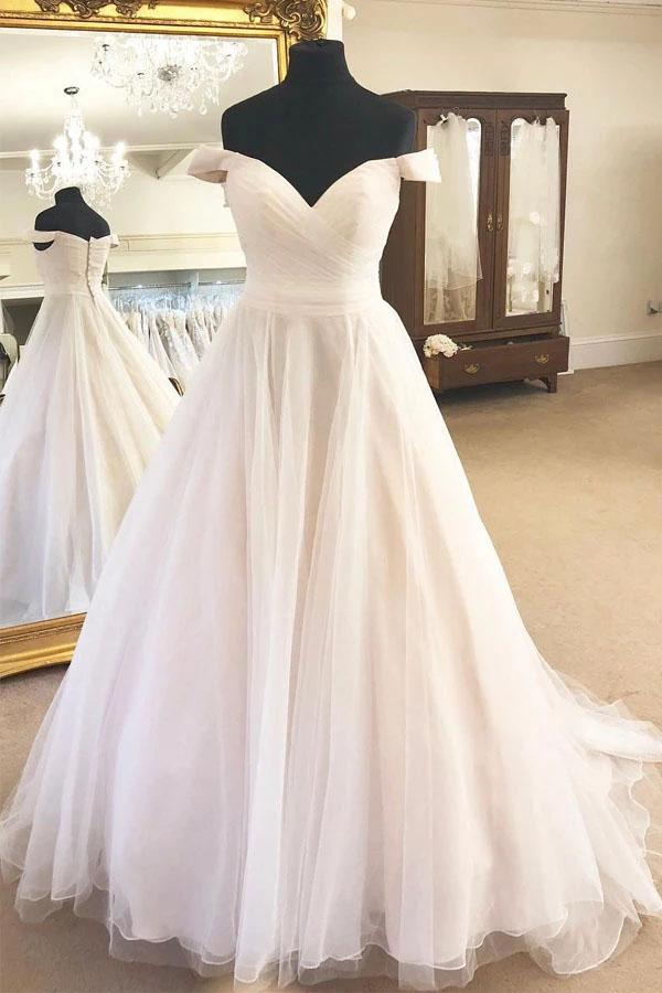 onlybridals Tulle Off the Shoulder A-Line Sleeveless Ivory Wedding Dress with Pleats - onlybridals