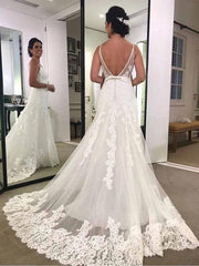Spaghetti Strap Printed Backless Lace Beach Wedding Dresses with Sash,MW341 - onlybridals