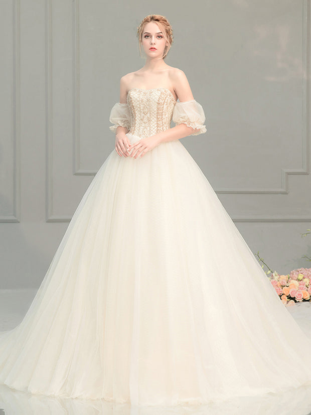 onlybridals Off Shoulder Vestido de Vintage Princess Wedding Dresses Sweetheart Neck Pearls Royal Train Ball Gown Bridal - onlybridals