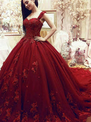 onlybridals Red Wedding Dresses Sweetheart Lace Applique 3D Flowers Bridal Dresses - onlybridals
