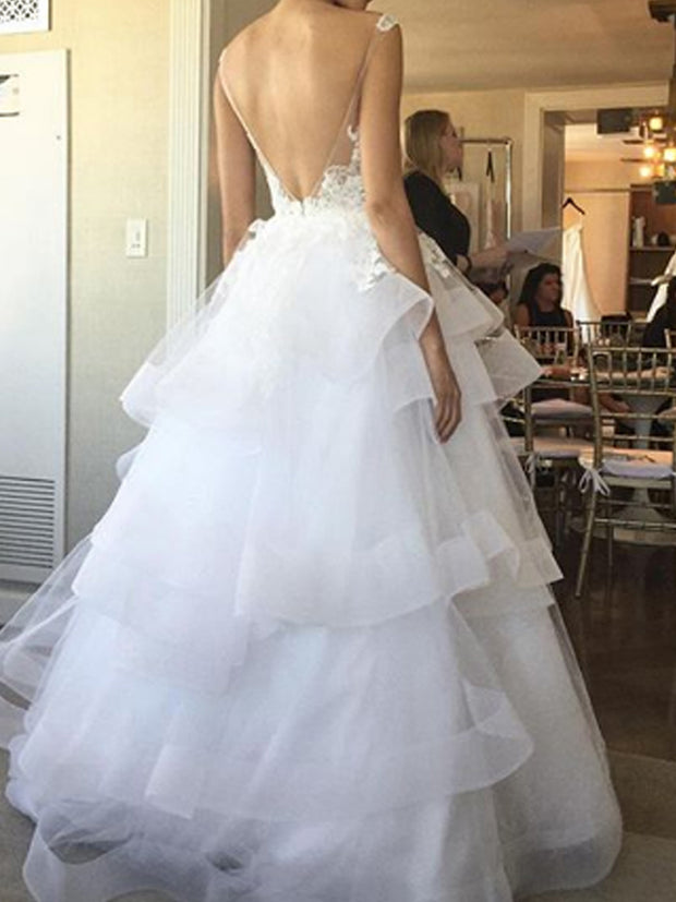 onlybridals Sexy V Neck Sleeveless Wedding Dresses Simple Tulle Vestido De Noiva Robe De Mariage Ball Gown White Bridal Gown