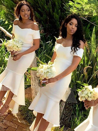 White High Low Mermaid Bridesmaid Dresses Off Shoulder Short Wedding Guest Party Gowns