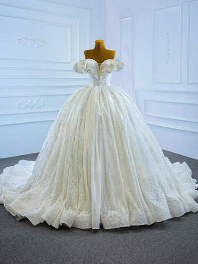 onlybridals Elegant Cap Sleeve Lace Beads Ball Gown Wedding Dresses 2021 Sexy Deep V Neck Wedding Gowns