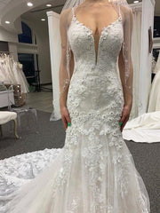 onlybridals Sereia Sexy Applique Lace Mermaid Wedding Dresses Spaghetti Strap Bride Wedding Gowns - onlybridals