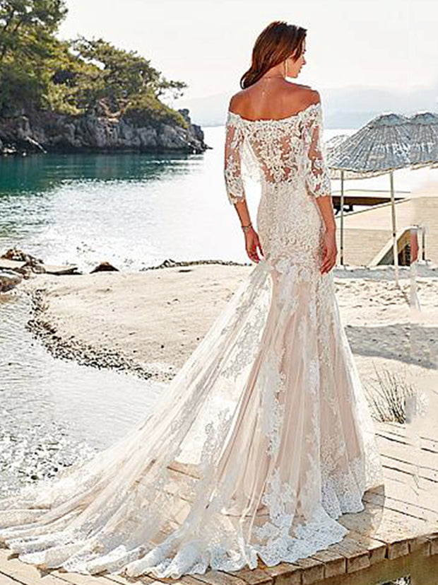 onlybridals Mermaid Boho Wedding Dresses Tulle Appliques Lace Wedding Gowns Backless Bride Dress - onlybridals