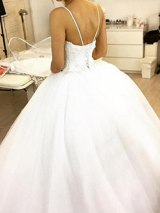 onlybridals Wedding Dresses Gown Sweetheart sleeveless with Spaghetti straps Applique Lace Wedding Dress - onlybridals
