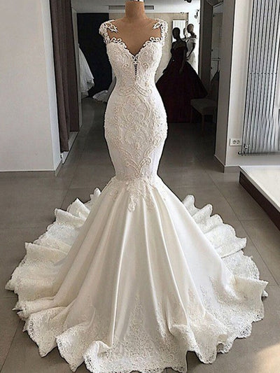onlybridals Mermaid Wedding Dresses Beaded Lace Satin Bride Wedding Gowns Dress - onlybridals