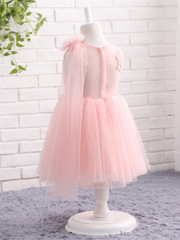onlybridals Pink Flower Girl Dresses for Weddings Cap Sleeves Lace Tulle Pageant Ball Gown Birthday First Communion Dresses Prom Dress - The Only Love Wedding Dress