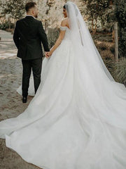 onlybridals White Organza Lace Beading V-Neck Floor-Length Ball gown Wedding dress - onlybridals