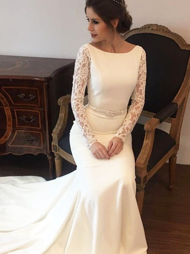 onlybridals Mermaid Wedding Dresses Lace Long Sleeve Bridal Dress Backless Wedding Gown - onlybridals