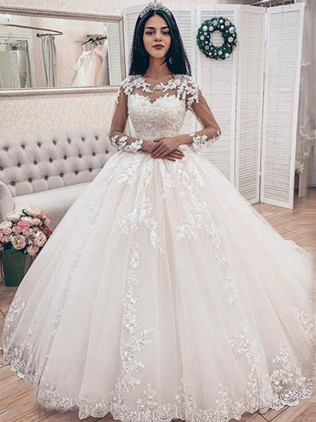 onlybridals Lace Applique Long Sleeves Ball Gown Wedding Dresses Bridal Gown Celebrity robe de mariee - onlybridals
