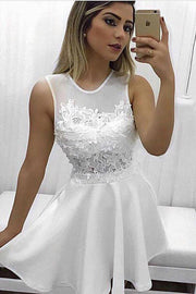 White A-line Sheer Back Homecoming Dress, Party Dresses with Appliques, MH425 - onlybridals