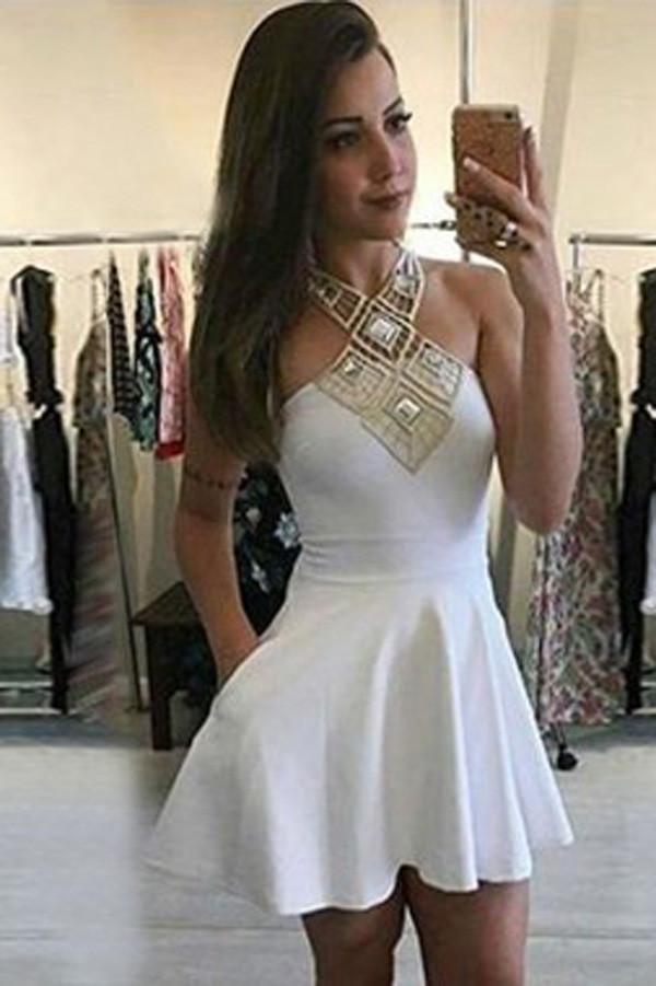 Unique White Halter Strapless Satin Tie Back Cheap Homecoming Dresses online, MH406 - onlybridals