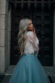Two-Piece Tutu Skirt White Tulle Lace Long Sleeves Homecoming Dresses, MH392 - onlybridals