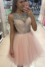 Tulle Juniors A-Line Scoop Homecoming Dress Short Prom Dresses, MH236 - onlybridals