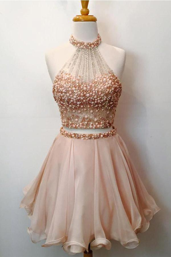 Two Piece Blush Pink Halter Homecoming Dresses, Short Prom Dresses, MH139 - onlybridals
