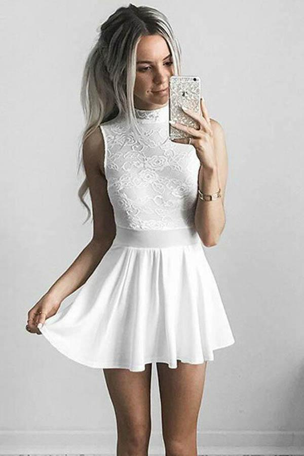 White Halter Chiffon A-Line Lace Homecoming Dresses Short Prom Dresses, MH424 - onlybridals