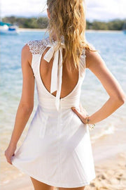 White Simple High Neck Chiffon Homecoming Dress, Short Prom Dresses, MH384 - onlybridals