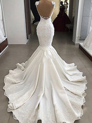 onlybridals Mermaid Wedding Dresses Beaded Lace Satin Bride Wedding Gowns Dress
