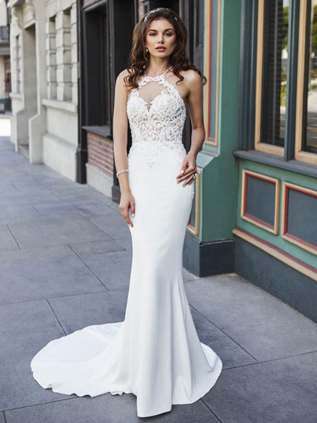 onlybridals Mermaid Wedding Dresses Appliques Lace Beach Bride Dress  White Ivory Wedding Gown - onlybridals