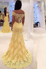 Yellow Off-the-Shoulder Lace Sweep Train Mermaid Prom Dresses Evening Dresses, MP312 - onlybridals
