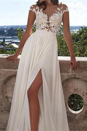onlybridals White Lace A-Line Front Split Wedding Dresses With Appliques, Bridal Dress