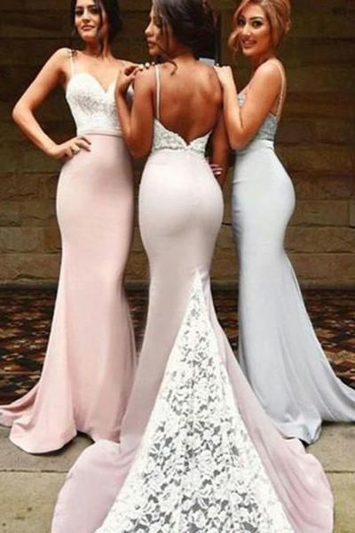 onlybridals Straps Backless Mermaid Bridesmaid Dresses, Wedding Party Dress - onlybridals