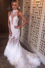onlybridals White Halter Mermaid Lace Sweep Train Prom Dresses With Feather