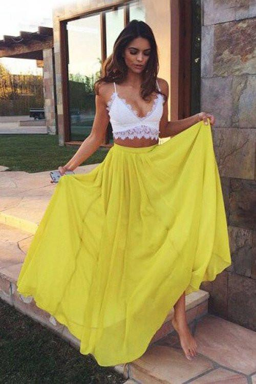 Yellow Chiffon Two Piece Sweetheart Lace Long Prom Dresses Evening Dresses, MP001