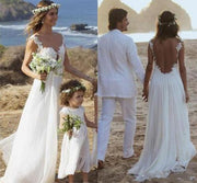 onlybridals Simple White Chiffon Open Back Straps A-line Wedding Dresses with Appliques, MW216 - onlybridals