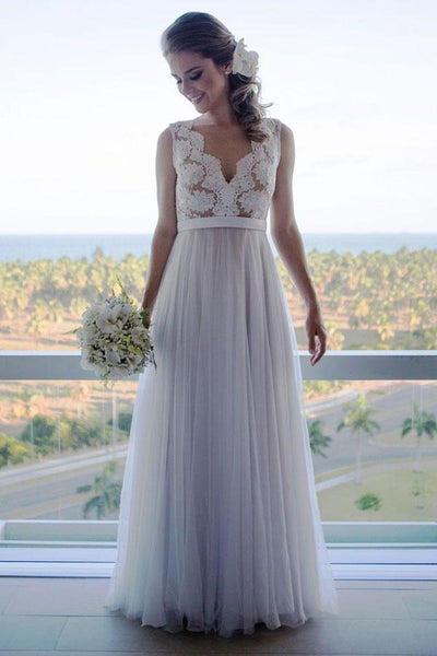 onlybridals White A-line V-neck Vintage Tulle Lace Top Beach Wedding Dresses - onlybridals