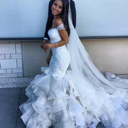 onlybridals White Mermaid Off Shoulder Sweetheart  Ruffles Wedding Dresses - onlybridals