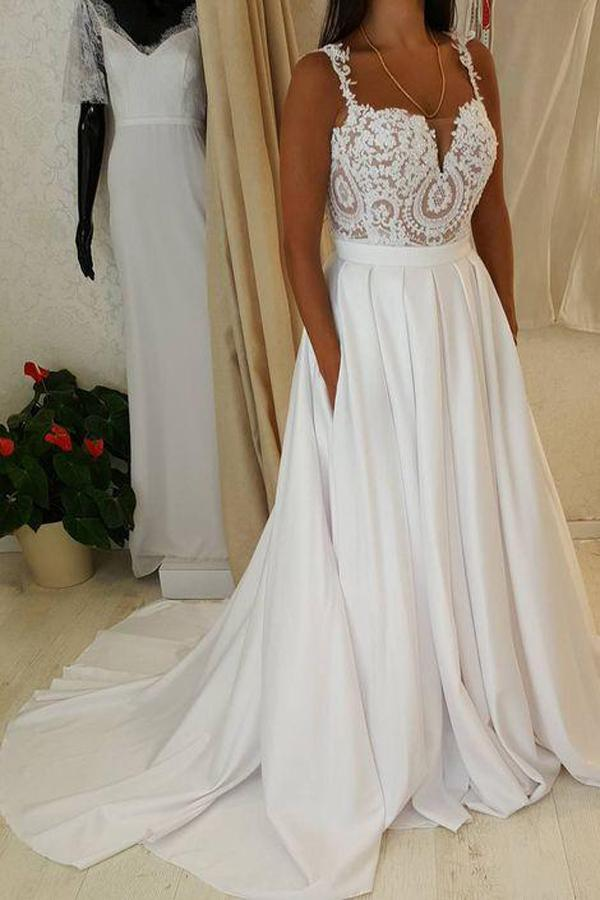 White Sweetheart Lace Top Spaghetti Straps Long Wedding Dresses with Pocket, MW221 - onlybridals