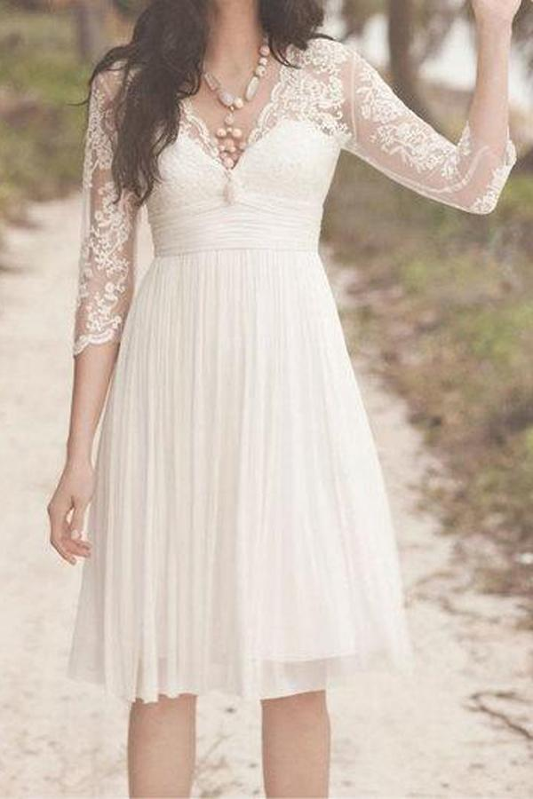 White A Line Vintage Knee Length 3/4 Sleeve Lace Wedding Dresses, MW248 - onlybridals