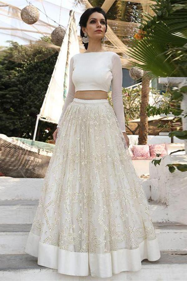 Two Piece Ivory A Line Cheap Bridal Dresses, Long Sleeves Lace Wedding Dress, MW196 - onlybridals