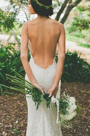 White V-neck Open Back Spaghetti Straps Wedding Dress with Sweep Train, MW231 - onlybridals