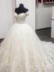 onlybridals White Lace Appliques Sweetheart Ball Gown Wedding Dresses Off The Shoulder Sleeves Bridal Dresses Wedding Gowns custom - onlybridals