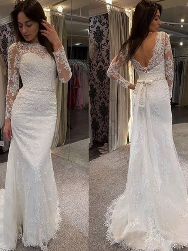 onlybridals Lace Boho Wedding Dress O-Neck Marriage Applique Beaded Belt Bridal Gown - onlybridals