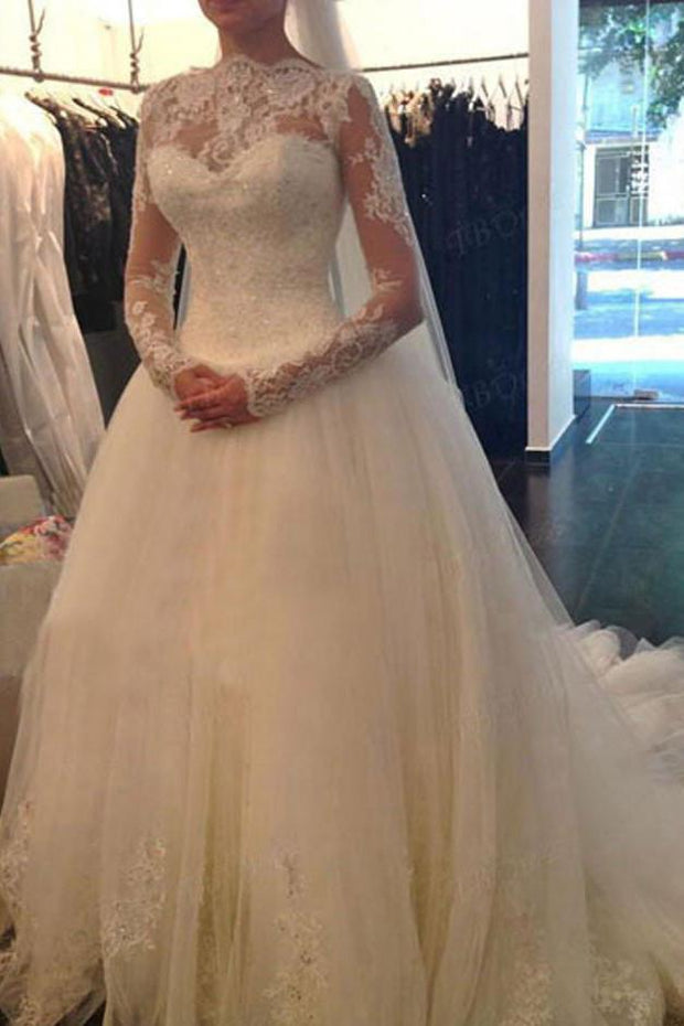 onlybridals White Long Sleeve Cheap V-back A-line Lace Tulle Wedding Dresses - onlybridals