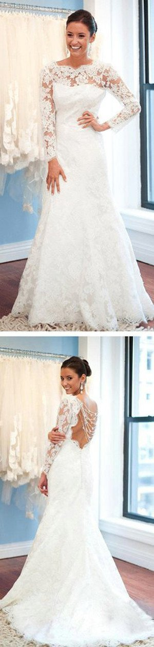 White Long Sleeve Lace Round Neck Backless Mermaid Wedding Dresses, MW242 - onlybridals