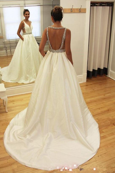 onlybridals White Beaded Deep V Neckline A-line Backless Long Wedding Dresses - onlybridals