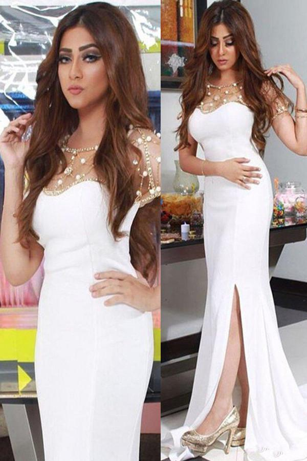 White Chiffon Sweetheart Beaded Mermaid Prom Dresses with Side Split, MP411 - onlybridals