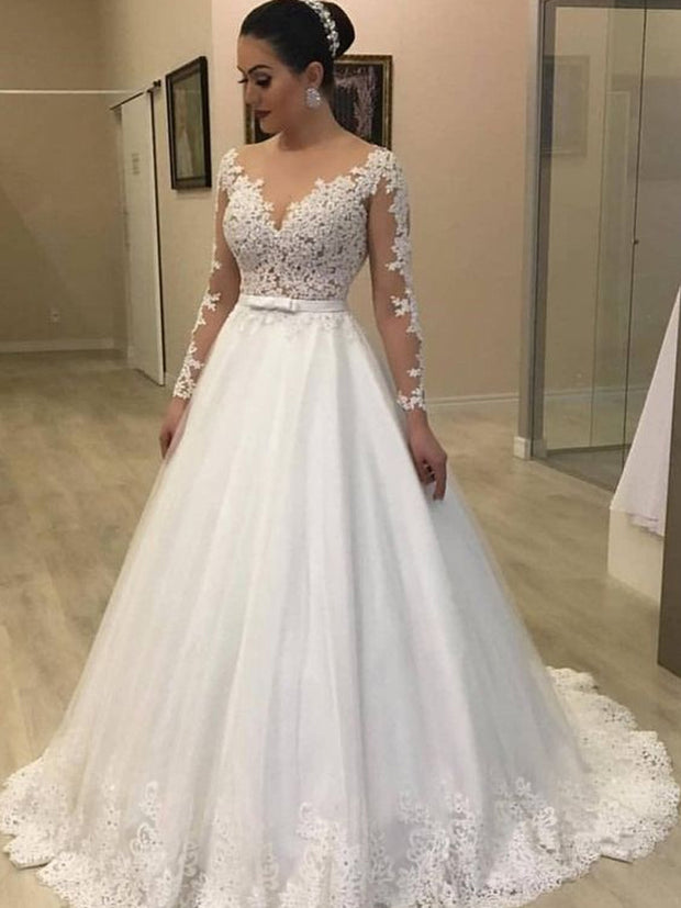 onlybridals White Long Sleeve Wedding Dress Ball Gown Lace Applique Illusion Scoop Neck Court Train Bridal Gowns - onlybridals