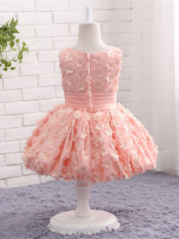 onlybridals Lovely Pink Flower Girl Dresses Pageant Ball Gown Puffy Flowers Tank Sexy Children Images Prom Dress Kids Wedding Party Gown - onlybridals