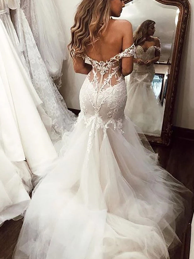 onlybridals Mermaid Wedding Dress Off The Shoulder Appliqued Lace Bride Gowns - onlybridals