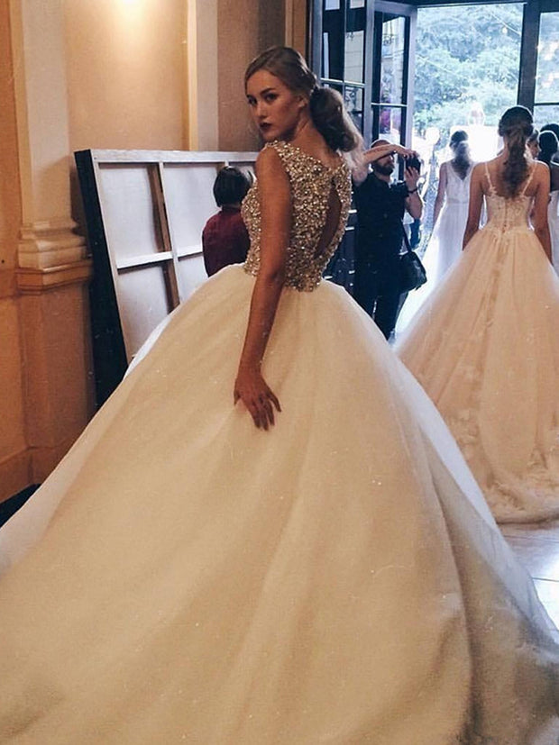 onlybridals Sexy Crystal Beaded Ball Gown Wedding Dresses 2019 Luxury Puffy Tulle Bridal Gowns