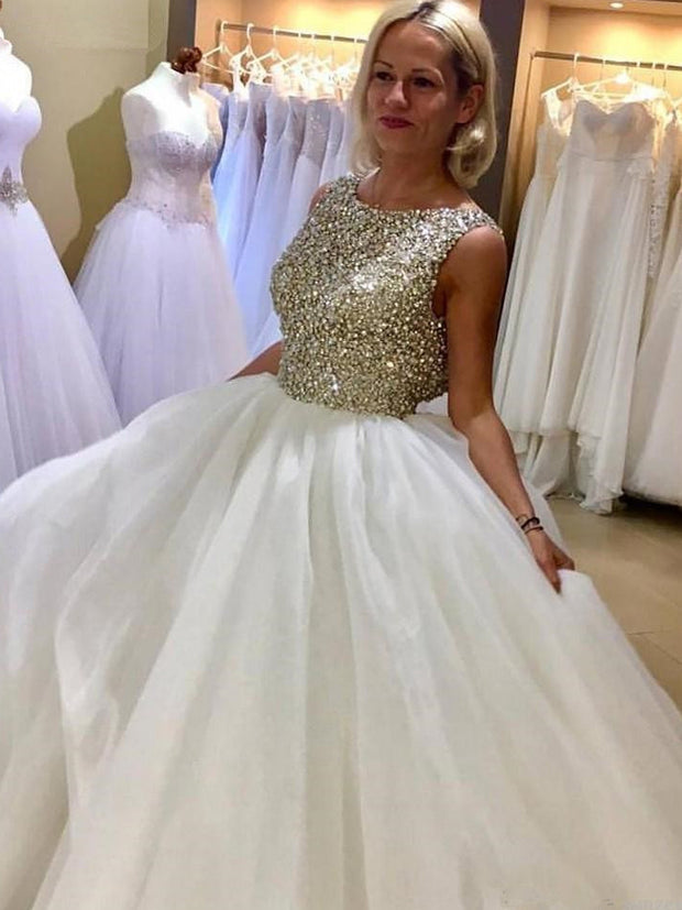 onlybridals Sexy Crystal Beaded Ball Gown Wedding Dresses 2019 Luxury Puffy Tulle Bridal Gowns - onlybridals
