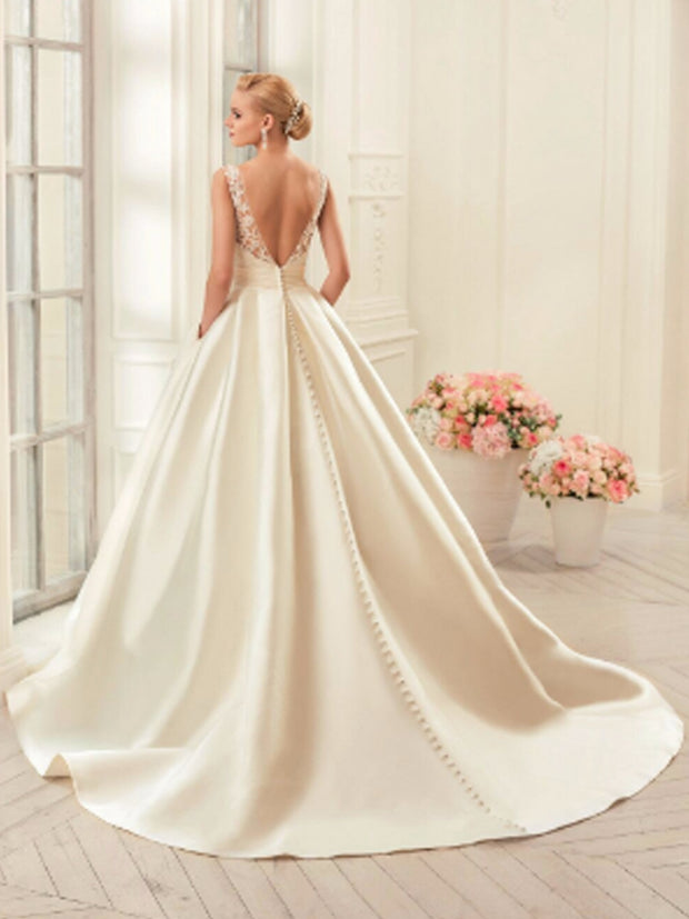 onlybridals Sexy Backless Wedding Dresses Chapel Train Bridal Gowns Ivory Satin Wedding Dresses - onlybridals